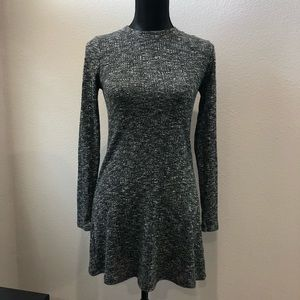 Topshop gray long sleeve ribbed sweater dress